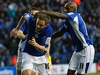 Photo: Steve Bond/Richard Lane Photography. Leicester City v Sheffield Wednesday. Coca Cola Championship. 12/12/2009. Andy King (L) turns away to celebrate with Lloyd Dyer (R)