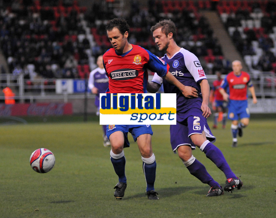Photo: Tony Oudot/Richard Lane Photography. Dagenham & Redbridge v Rochdale. Coca-Cola Football League Two. 21/11/2009. <br /> Matt Lockwood of Dagenham with Scott Wiseman of Rochdale