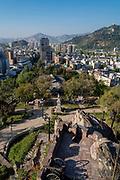 View of Cerro San Cristóbal from Cerro Santa Lucia, Santiago, Chile.