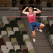 TOKYO, JAPAN August 3: Christopher Nilsen of the United States goes clear during his silver medal performance in the Pole Vault Final for Men at the Olympic Stadium during the Tokyo 2020 Summer Olympic Games on August 3rd, 2021 in Tokyo, Japan. (Photo by Tim Clayton/Corbis via Getty Images)