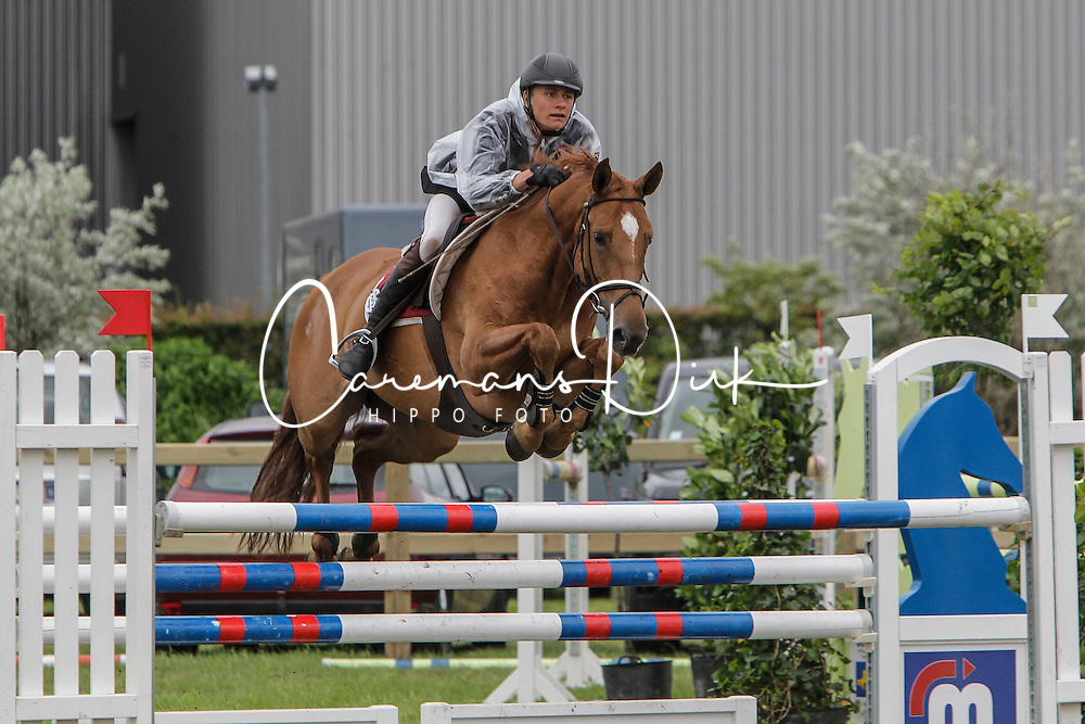 De Winter Jeroen (BEL) - Gretel S<br /> 6j springen<br /> Nationale wedstrijd LRV jonge paarden - Lommel 2012<br /> © Dirk Caremans