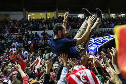 June 4, 2017 - Girona, Spain - Celebrations of the Girona FC trainer Pablo Machin after certificate his promotion ascent to the La Liga during the Spanish championship La Liga 1|2|3 football match between Girona FC vs Zaragoza at Montilivi stadium on June 4, 2017 in Girona, Spain. (Credit Image: © Xavier Bonilla/NurPhoto via ZUMA Press)