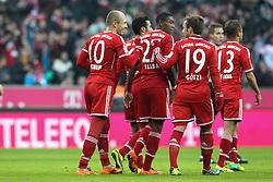 30.11.2013, Allianz Arena, Muenchen, GER, 1. FBL, FC Bayern Muenchen vs Eintracht Braunschweig, 14. Runde, im Bild Torjubel von l-r: Arjen ROBBEN #10 (FC Bayern Muenchen), David ALABA #27 (FC Bayern Muenchen), Mario GOETZE #19 (FC Bayern Muenchen), RAFINHA #13 (FC Bayern Muenchen) // during the German Bundesliga 14th round match between FC Bayern Muenchen vs Eintracht Braunschweig at the Allianz Arena in Muenchen, Germany on 2013/11/30. EXPA Pictures © 2013, PhotoCredit: EXPA/ Eibner-Pressefoto/ Kolbert<br /> <br /> *****ATTENTION - OUT of GER*****