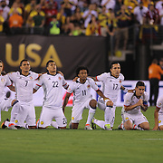 EAST RUTHERFORD, NEW JERSEY - JUNE 17:  Colombia players react to the penalty miss by Christian Cueva #10 of Peru to secure the penalty shoot out win for Colombia during the Colombia Vs Peru Quarterfinal match of the Copa America Centenario USA 2016 Tournament at MetLife Stadium on June 17, 2016 in East Rutherford, New Jersey. (Photo by Tim Clayton/Corbis via Getty Images)