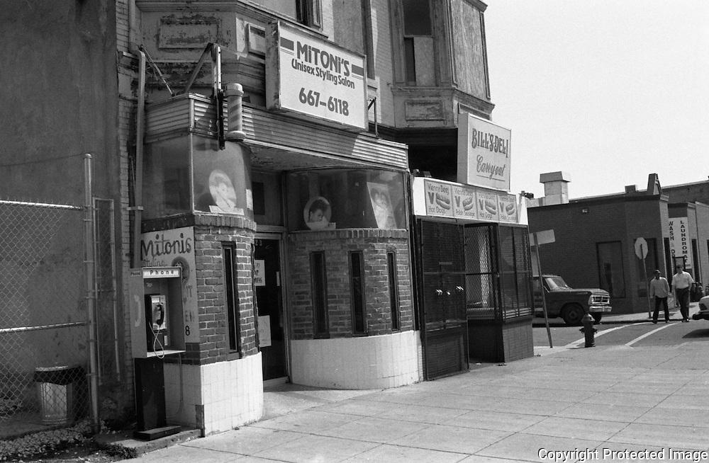 U Street NW Washington DC, Mitoni's Unisex Styling Salon, Bill's Deli home of the Hustler sandwich