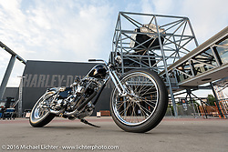 Mike Rabideau's custom Shovelhead at the Harley-Davidson Museum, which was one of the official venues for the Milwaukee Rally. Milwaukee, WI, USA. Sunday, September 4, 2016. Photography ©2016 Michael Lichter.