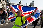 On the day that the UK was originally scheduled to leave the EU Prime Minister Theresa May also suffered her third vote defeat, bringing a No Deal Brexit ever closer and Leave Brexiteers protested outside parliament in Westminster, on 29th March 2019, in London, England.