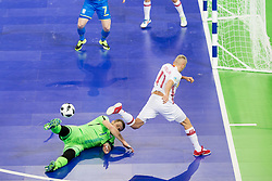 Yevgen Ivanyak of Ukraine and Miguelin of Spain during futsal quarterfinal match between National teams of Ukraine and Spain at Day 8 of UEFA Futsal EURO 2018, on February 6, 2018 in Arena Stozice, Ljubljana, Slovenia. Photo by Urban Urbanc / Sportida