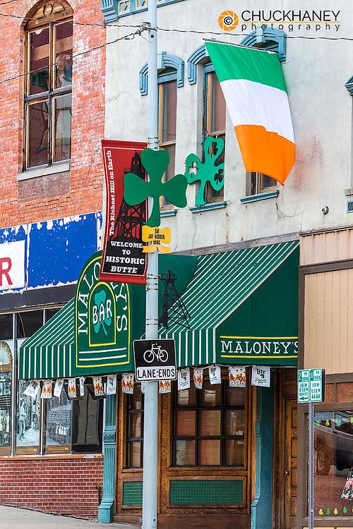 Maloneys Irish bar in historicUptown Butte, Montana, USA