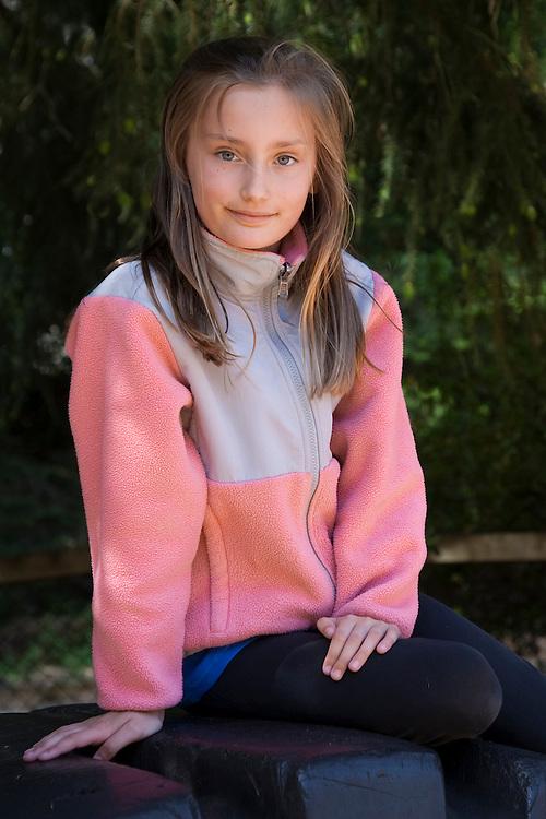 United States, Washington, Seattle, portrait of girl (9 years)  MR