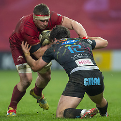 March 23, 2019 - Limerick, Ireland - CJ Stander of Munster tackled by Tommaso Boni of Zebre during the Guinness PRO14 match between Munster Rugby and Zebre at Thomond Park Stadium in Limerick, Ireland on March 23, 2019  (Credit Image: © Andrew Surma/NurPhoto via ZUMA Press)
