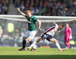 Hibernian's Fraser Fyvie and Falkirk's Tom Taiwo.<br /> Hibernian 0 v 1 Falkirk, William Hill Scottish Cup semi-final, played 18/4/2015 at Hamden Park, Glasgow.