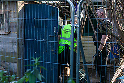 London, UK. 26th February, 2019. Bailiffs from the National Eviction Team try to secure a tunnel beneath Grow Heathrow, a squatted eco-community founded in 2010 on a previously derelict site close to Heathrow airport in protest against government plans for a third runway which was today partially evicted by bailiffs. Bailiffs have almost secured the front section of the site, owned by Imran Malik, removing several protesters locked on in towers above the camp, but four protesters are believed to remain in a tunnel beneath that area. Many more protesters remain on the rear portion of the site. Five legal challenges to the government's approval of a 3rd runway at Heathrow will proceed to judicial review at the Royal Courts of Justice on 10th March.