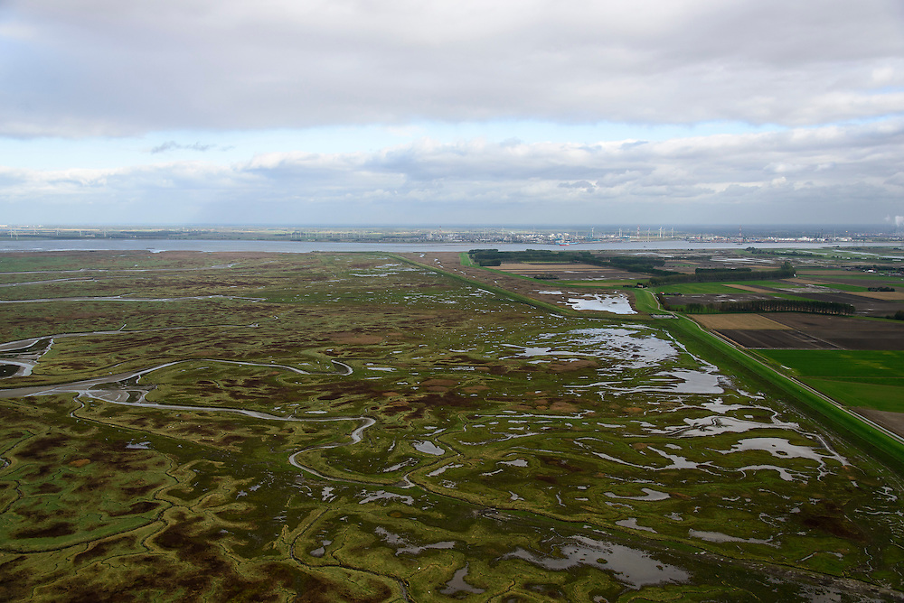 Nederland, Zeeland, Zeeuws-Vlaanderen, 23-10-2013; Van rechts naar links onder in beeld: Belgische Prosperpolder en reeds onder water gezet, daarnaast De Hedwige Polder en tenslotte een klein stukje van Het Verdronken Land van Saeftinge. Aan de horizon de Belgische kant van de Westerschelde naar de Haven van Antwerpen. <br /> Borderland Belgium and the Netherlands, the Drowned Land Saeftinge and the Belgian polder (right), under water due to environmental compensation. Westerschelde end entrance of the port of Antwerp on the horizon.<br /> luchtfoto (toeslag op standaard tarieven);<br /> aerial photo (additional fee required);<br /> copyright foto/photo Siebe Swart.