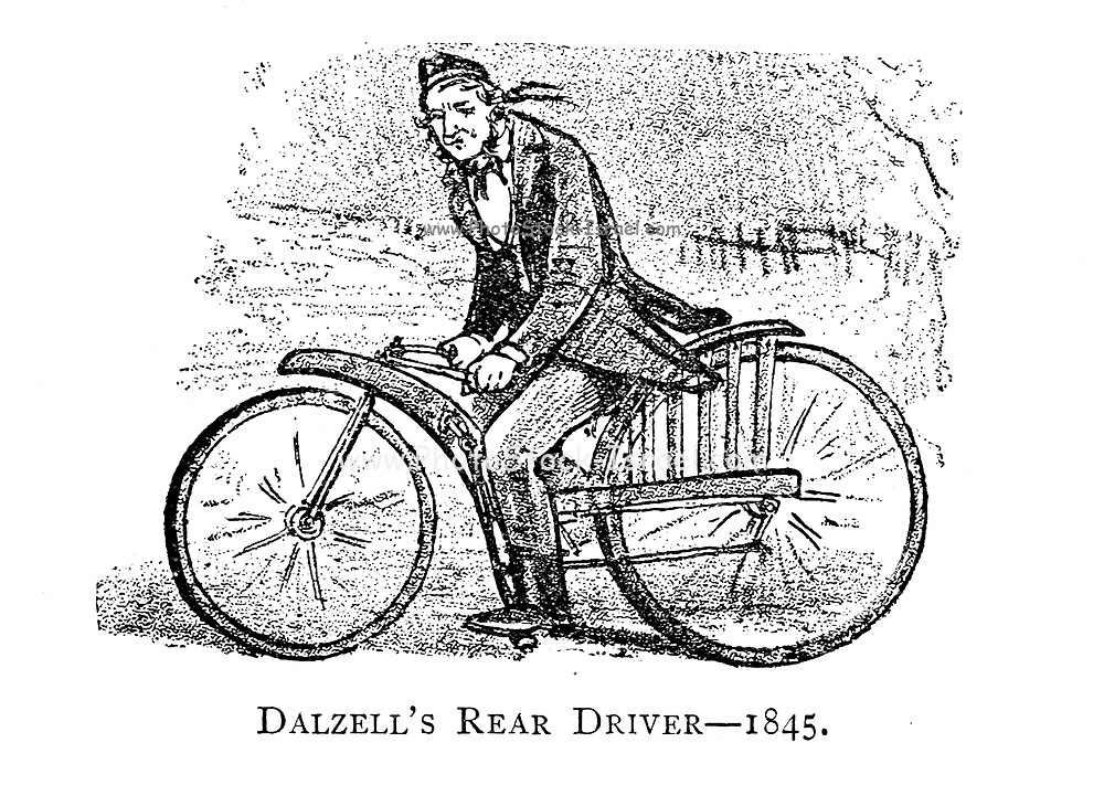 Dalzell's Rear Drive 1845 From Wheels and Wheeling; An indispensable handbook for cyclists, with over two hundred illustrations by Porter, Luther Henry. Published in Boston in  1892