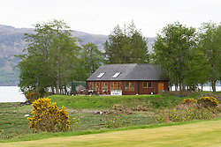Loch Carron Golf Club clubhouse on the North Coast 500 scenic driving route in northern Scotland, UK