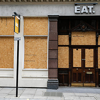 EAT restaurant boarded up;<br />