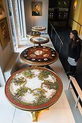 © Licensed to London News Pictures. 15/11/2016. Selection of Italian tables featuring micro mosaic table tops by Michangelo Barberi (about (1850). The tables are showing as part of the re-opening of the V & A's Rosalinde and Arthur Gilbert Galleries. London, UK. Photo credit: Ray Tang/LNP