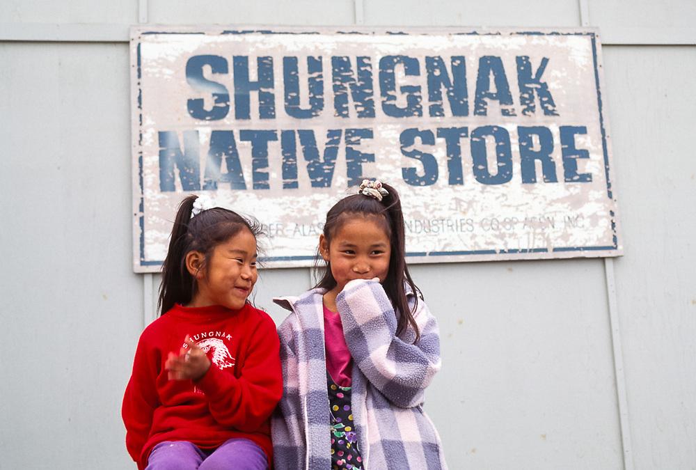 Young Inupiat girls, Shungnak, Alaska, USA