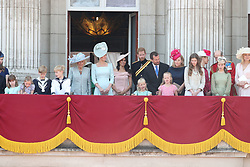 Members of the royal family, including the Duchess of Cornwall (centre left), Duchess of Cambridge (centre), the Duke and Duchess of Sussex (centre right) and Peter Phillips and his wife Autumn (right) on the balcony of Buckingham Palace, in central London, following the Trooping the Colour ceremony at Horse Guards Parade as the Queen celebrates her official birthday.