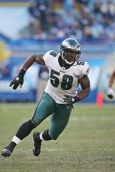 SAN DIEGO, CA - NOVEMBER 15: Trent Cole of the Philadelphia Eagles during a game against the San Diego Chargers on November 14, 2009 at Qualcomm Stadium in San Diego, California. The Chargers won 31-23. (Photo by Hunter Martin)