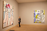 London, UK. Monday 18th February 2013. Lichtenstein: A Retrospective at  Tate Modern brings together 125 of artist Roy Lichtenstein's most definitive paintings and sculptures. Nudes with Beach Ball (1994) and Nude with Bust (1995)