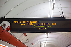 © licensed to London News Pictures. London, UK 31/07/2012. A Central Line train terminating at Liverpool Street Station as the line being operated with severe delays and temporarily losing its connection to Stratford (Olympic Park) on 31/07/12. Photo credit: Tolga Akmen/LNP