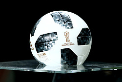 A general view of the Adidas Telstar ball which will be used as the official match ball of the 2018 FIFA World Cup seen on display during the international friendly match at the Groupama Arena, Budapest.