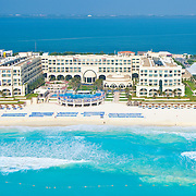 Aerial View of the Marriott Casamagna.<br /> Cancun, Quintana Roo. Mexico.