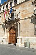 Palacio de los Guzmanes palace entrance , Plaza San Marcelo , Leon spain castile and leon