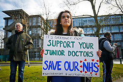 © Licensed to London News Pictures. 06/04/2016. London, UK. Junior doctors of Northwick Park Hospital protesting at a picket line as junior doctors in England start the forth 48-hours strike in a dispute over pay, working hours and patient safety on Wednesday, 6 April 2016. Photo credit: Tolga Akmen/LNP