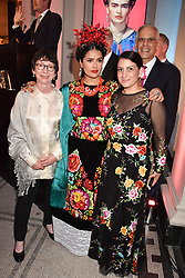 "Left to right, Claire Wilcox, Salma Hayek and Circe Henestrosa at the opening of ""Frida Kahlo: Making Her Self Up"" Exhibition at the V&A Museum, London England. 13 June 2018."