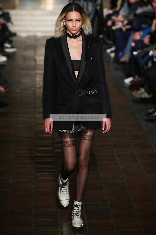 Binx Walton walks the runway wearing Alexander Wang Fall 2016 during New York Fashion Week on February 13, 2016