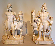 Statuettes of Castor and Pollux in the Metropolitan Museum of Art, New York, NY. Marble Roman, first half 3rd century AD. In myth, the twins shared the same mother but had different fathers (immortal Zeus and motel Tyndareus). Pollux was immortal and Castor was mortal. When Castor was killed, Pollux asked Zeus to let him share his own immortality with his twin to keep them together and they were transformed into the Gemini constellation. The pair were regarded as the patrons of sailors, to whom they appeared as St. Elmo's fire.