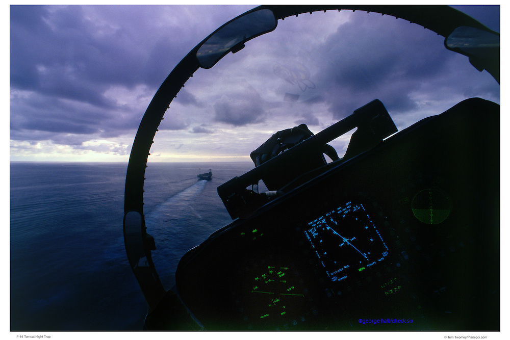 F-14 Pilot making night trap
