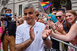 © Licensed to London News Pictures. 08/07/2017. London, UK. Mayor of London, Sadiq Khan, meets the crowds.  Tens of thousands of visitors, many wearing eye-catching costumes, gather to watch and take part in the annual Pride in London Parade, the largest celebration of the LGBT+ community in the UK.   Photo credit : Stephen Chung/LNP