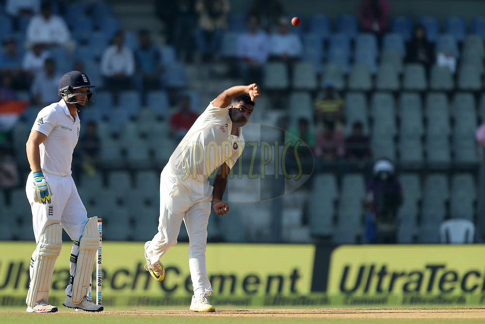 Ravichandran Ashwin of India during day 5 of the fourth test match between India and England held at the Wankhede Stadium, Mumbai on the 12th December 2016.<br /> <br /> Photo by: Ron Gaunt/ BCCI/ SPORTZPICS