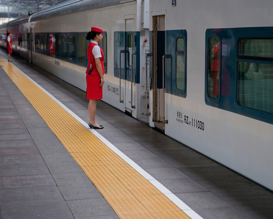Train Stewardess on the platform at Beijing Central Train Station