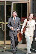 David Kendall, attorney for US President Bill Clinton, leaves the Federal Courthouse where the Grand Jury investigating President Bill Clinton continues July 28, 1998 in Washington, DC.