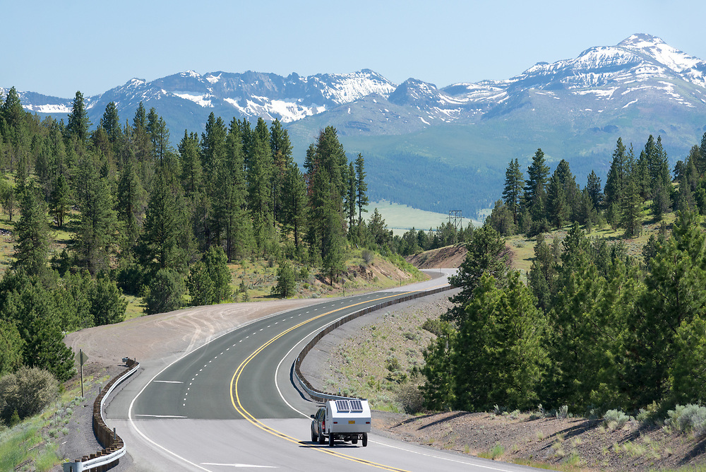 Driving towards the Strawberry Mountains on Highway 20 in Grant County, Oregon.