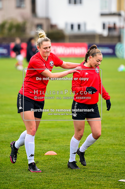 Crayford   England    07 March 2021   The Oakwood<br /> <br /> Lewes players warms up before kick off<br /> <br /> Charlton v Lewes<br /> <br /> The FA Women's Championship<br /> <br /> (Photo: © Jon Hilliger / HilligerPix)