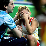 Wrestling - Olympics: Day 12  Patricia Alejandra Bermudez of Argentina dejected after defeat to Elitsa Atanasova Yankova of Bulgaria during their Women's Freestyle 48 kg bronze Medal Final at the Carioca Arena 2 on August 17, 2016 in Rio de Janeiro, Brazil. (Photo by Tim Clayton/Corbis via Getty Images)