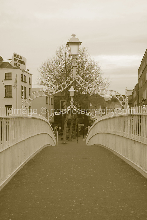 Halpenny Bridge, Dublin City, Ireland in sepia effect