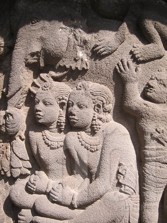 Bas-relief carved on a wall of Candi Prambanan Temple, Java, Indonesia, Southeast Asia
