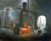 James Nasmyth's steam hammer erected in his foundry near Manchester in 1832. Painting by Nasmyth.