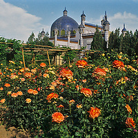 A rose garden grows near Yusuf Khass Hajib Tomb in Kashgar (Kashi) a town on the Silk Road in Xinjiang, in far western China. This was built to honor an 11th century Turkic poet.