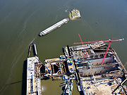 Nederland, Noord-Holland, IJmuiden;  03-23-2020; <br /> Sluiscomplex IJmuiden met de zeesluizen van het Noordzeekanaal, de Noordersluis, Middensluis en Zuidersluis. Parallel aan de Noordersluis wordt een nieuwe grote zeesluis gebouwd. Detail van de nieuwe sluisdeur.<br /> Lock complex IJmuiden, parallel to the large Northern Lock a new large sea lock will be build.<br /> <br /> luchtfoto (toeslag op standard tarieven);<br /> aerial photo (additional fee required)<br /> copyright © 2020 foto/photo Siebe Swart