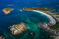 France, Manche (50), îles Chausey, la plage Grande Grève, vue aerienne // France, Normandy, Manche department, Chausey isands, Grande Greve beach, aerial beach
