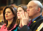 © Licensed to London News Pictures. 15/03/2015. Liverpool, UK.  Miriam Gonzalez Durantz during Nick Clegg's leaders speech. The Liberal Democrat Spring Conference in Liverpool 15th March 2015. Photo credit : Stephen Simpson/LNP
