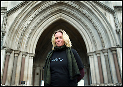 October 3, 2018 - London, London, United Kingdom - Undercover policing demonstration. Environmental activist Kate Wilson outside the Royal Courts of Justice in London, ahead of a hearing where she is taking a case against the Metropolitan Police concerning the abuse of her human rights, when she was deceived into a long term intimate relationship with undercover officer Mark Kennedy. (Credit Image: © David Mirzoeff/i-Images via ZUMA Press)